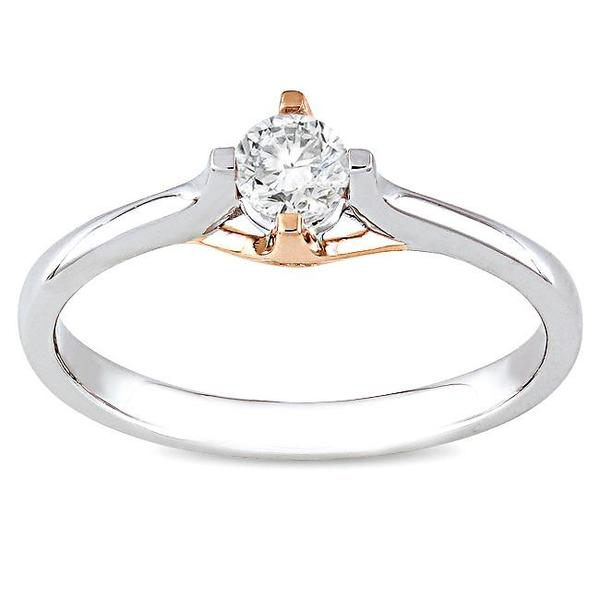 Miadora 10k White and Rose Gold 1/4ct TDW Diamond Solitaire Ring (G-H, I2-I3)