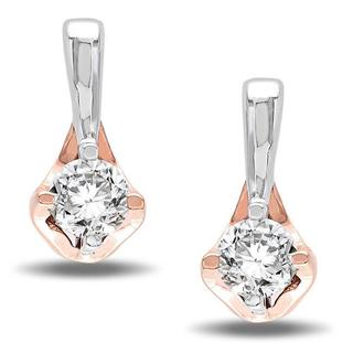 Miadora 10k White and Rose Gold 1/4ct TDW Diamond Earrings (G-H, I2-I3)