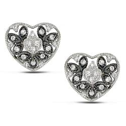 Miadora 10k White Gold 1/4ct TDW Diamond Heart Earrings (G-H, I3)