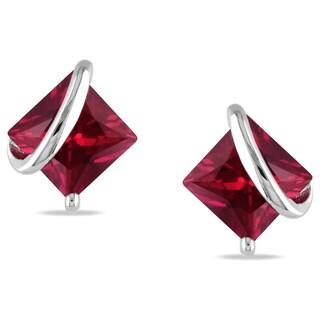 Miadora Sterling Silver Created Ruby Stud Earrings