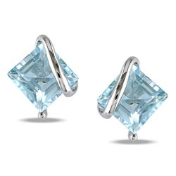 Miadora Sterling Silver Sky Blue Topaz Stud Earrings