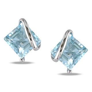 M by Miadora Sterling Silver Sky Blue Topaz Stud Earrings