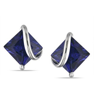 M by Miadora Sterling Silver Created Sapphire Stud Earrings