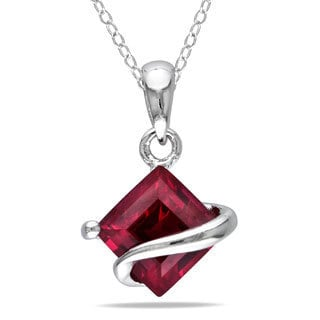 Miadora Sterling Silver Created Ruby Necklace