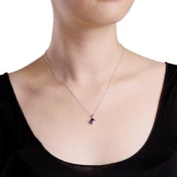 Miadora Sterling Silver Created Sapphire Fashion Necklace