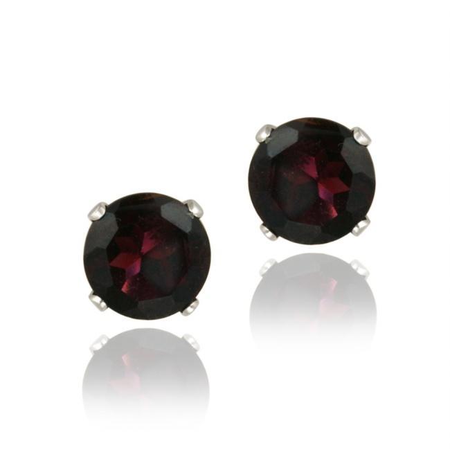 Glitzy Rocks Sterling Silver 3 1/3ct TGW 7mm Garnet Stud Earrings