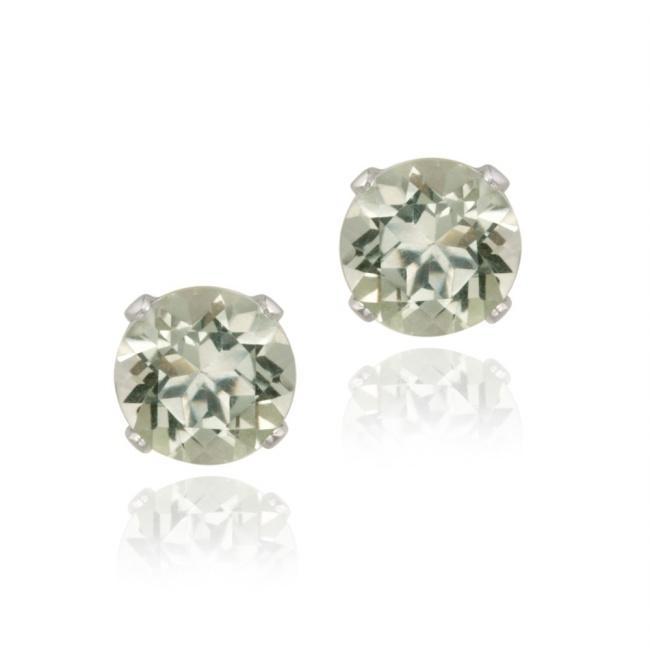 Glitzy Rocks Sterling Silver 2 2/5ct TGW 7-mm Green Amethyst Stud Earrings