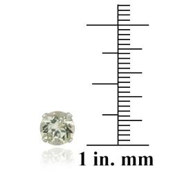 Glitzy Rocks Sterling Silver 2 2/5ct TGW 7-mm Green Amethyst Stud Earrings