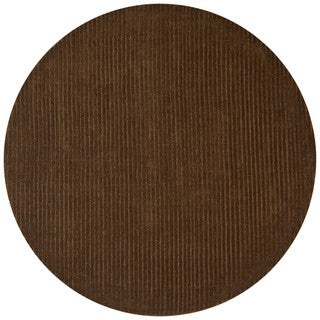 Hand-tufted Pulse Brown Wool Rug (8' Round)