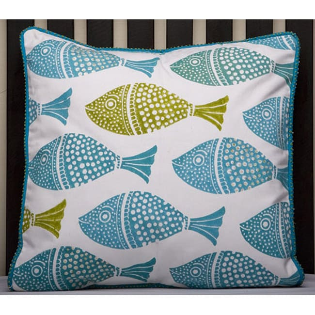 Cotton 15x15-inch Fish Printed Pillow Cover (India)