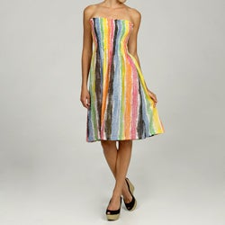 Women's Cotton Multicolor Crayon Stripe Dress (India)