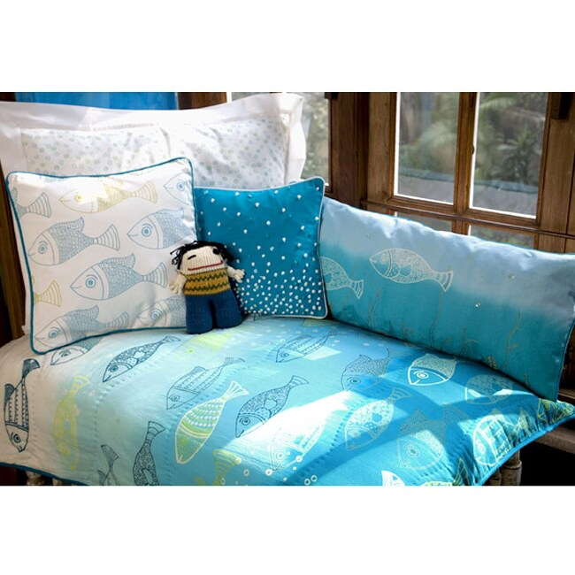 Cotton Into The Blue Fish Printed Quilt (India)