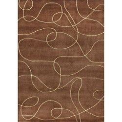 Handmade Brown New Zeland Blend Wool Rug (8' x 10')