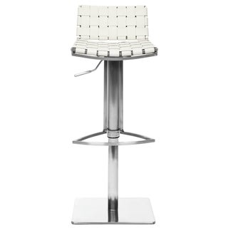 Safavieh Deco White Bi-cast Leather Seat Stainless-Steel Adjustable Bar Stool
