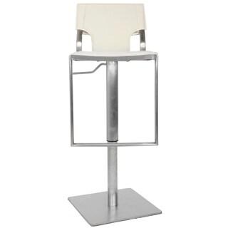 Safavieh Deco White Leather Seat Stainless Steel Adjustable Bar Stool