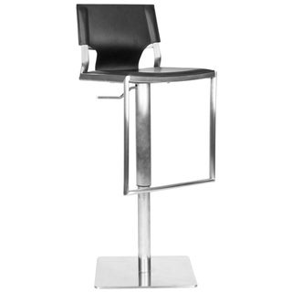 Safavieh Deco Black Bi-Cast Leather Seat Stainless-Steel Adjustable Bar Stool