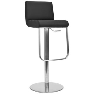 Safavieh Deco Black Leather Seat Stainless Steel Adjustable Bar Stool