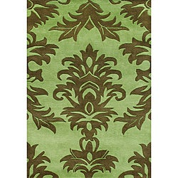 Metro Hand-made Palm Green Tufted Area Rug (5' x 8')