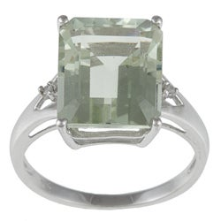 Viducci 10k Gold Green Amethyst and 1/10ct TDW Diamond Ring (G-H, I1-I2)