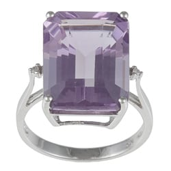 Viducci 10k White Gold Amethyst and Diamond Accent Ring