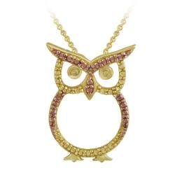 DB Designs 18k and Rose Gold over Silver Champagne Diamond Accent Owl Necklace