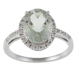 Viducci 10k White Gold Green Amethyst and 1/10 TDW Diamond Ring