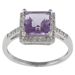 Viducci 10k White Gold Amethyst and 1/10 TDW Diamond Ring