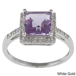 Viducci 10k Gold Amethyst and 1/10 TDW Diamond Ring (G-H, I1-I2)