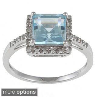 Viducci 10k White Gold Blue Topaz and 1/10 TDW Round-cut Diamond Ring (G-H, I1-I2)