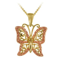 DB Designs 18k and Rose Gold over Silver Champagne Diamond Butterfly Necklace