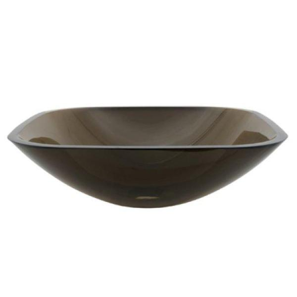 Tempered Glass Vessel Sink : Kingston Brass Square Amber Bronze Tempered Glass Bathroom Vessel Sink ...