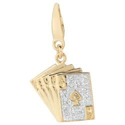 14k Gold over Silver 1/10ct TDW Diamond Playing Cards Charm (H-I, I1-I2)