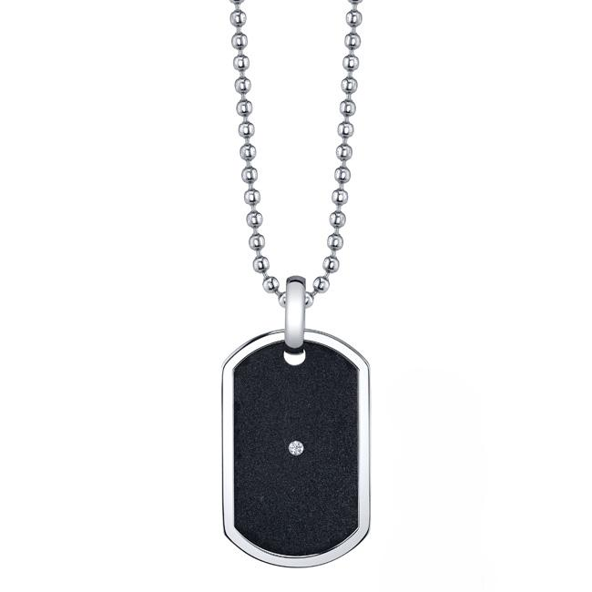 Stainless Steel Cubic Zirconia Black Dog Tag Necklace