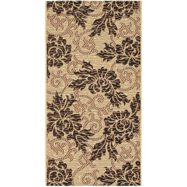 "Safavieh Indoor/Outdoor Creme/Black Floral Rug (2'7"" x 5')"