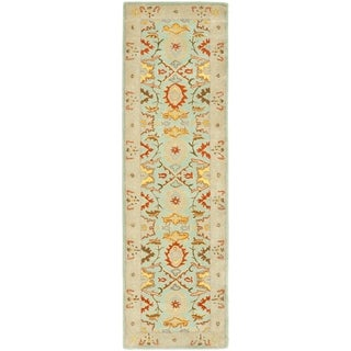 Handmade Treasures Light Blue/ Ivory Wool Runner (2'3 x 8')
