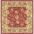 Handmade Boitanical Red/ Ivory Wool Rug (8' Square)