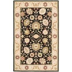 Safavieh Micro Hand-hooked Chelsea Mahal Black/ Beige Wool Rug (5'3 x 8'3)