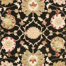 Micro Hand-hooked Chelsea Mahal Black/ Beige Wool Rug (6' x 9')