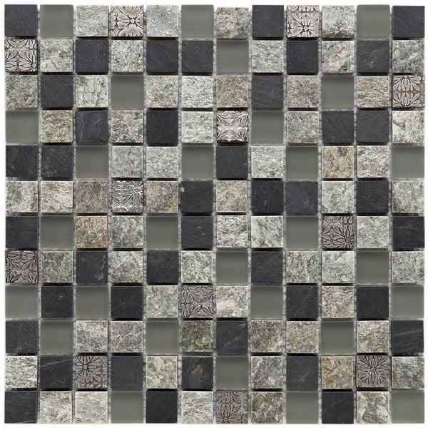 Somertile 12x12-in Granstone Fauna 1-in Verde Stone/ Glass Mosaic Tile (Pack of 10)
