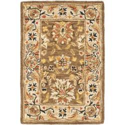 Mirco Hand-hooked Chelsea Kerman Brown Wool Rug (1'8 x 2'6)