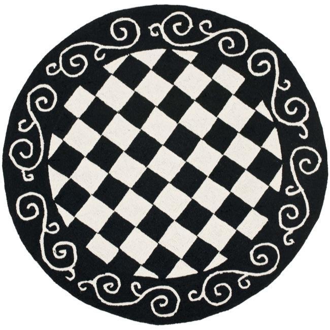 Safavieh Hand-hooked Diamond Black/ Ivory Wool Rug (4' Round)