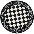 Hand-hooked Diamond Black/ Ivory Wool Rug (4' Round)