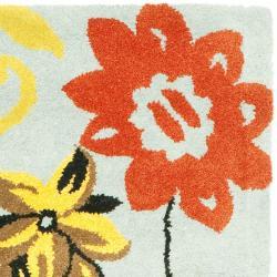 "Safavieh Handmade Soho Blue Floral-Print New Zealand Wool Runner (2'6"" x 12')"