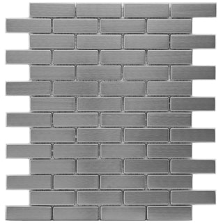 Somertile 12.25x10.5-in Anvil Steel Subway .75x2.5-in Metal Over Ceramic Mosaic Tile (Pack of 10)