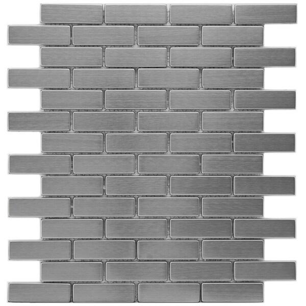 Somertile 12.25x10.5-in Anvil Steel Subway .75x2.5-in Metal Over Ceramic Mosaic Tile (Pack of 10)