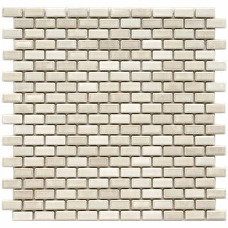 Somertile 11.75x11.75-in Samoan Subway 1/2x1-in Glacier Porcelain Mosaic Tile (Pack of 10)