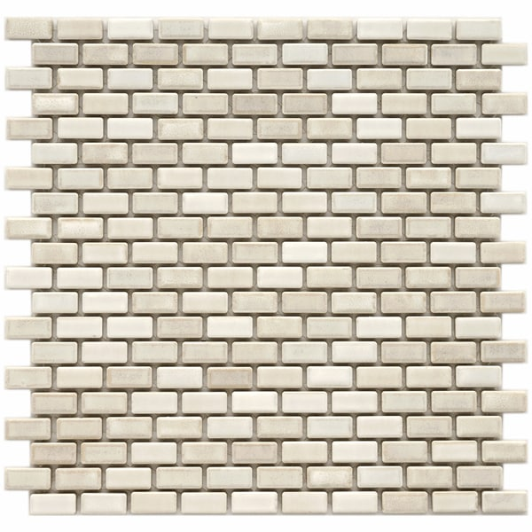 Somertile 11.75x11.75-in Samoan Subway 1/2x1-in Glacier Porcelain Mosaic Tile (Pack of 10)
