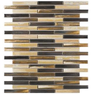Somertile 10.75x12.75-in Samoan Brick 1/2x3-1/2-in Highlands Porcelain Mosaic Tile (Pack of 10)