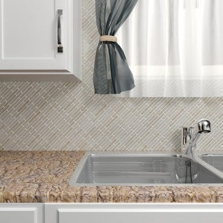 Somertile 10.75x12.75-in Samoan Brick 1/2x3-1/2-in Glacier Porcelain Mosaic Tile (Pack of 10)
