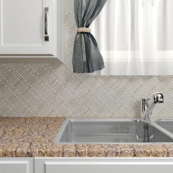Somertile 10.75x12.75-in Samoan Brick 1/2x3-1/2-in Glacier Porcelain Mosaic Tile (Pack of 10)